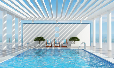 villa: Contemporary luxury holiday villa with pool near the sea - rendering