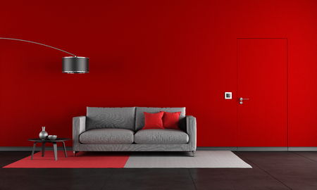 red couch: Red and black living room with modern sofa and door - rendering
