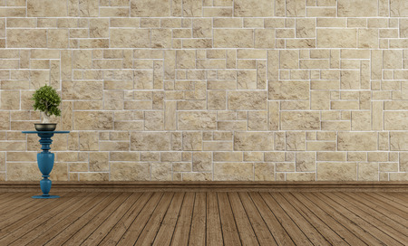 Empty vintage room with stone wall and grunge wooden floor - rendering