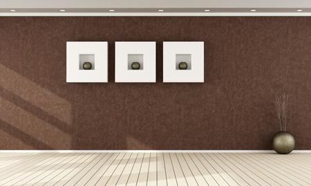 Elegant brown interior without furniture - rendering