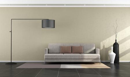 Минималистский современной гостиной с диваном и торшер - оказание