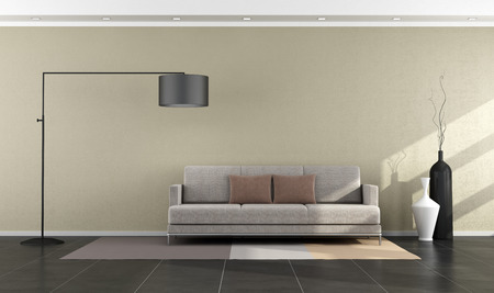 Minimalist  modern living room with sofa and floor lamp - rendering
