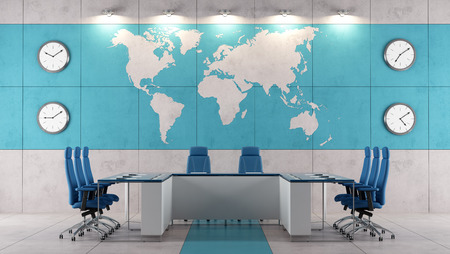 Contemporary boardroom with meeting table and world map on wall  - rendering