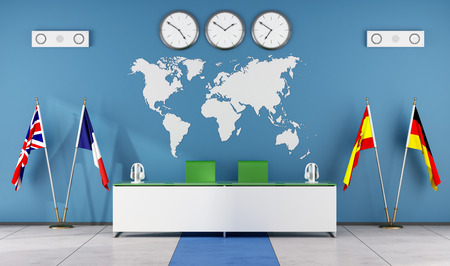 language school: Modern classroom of a language school with teacher
