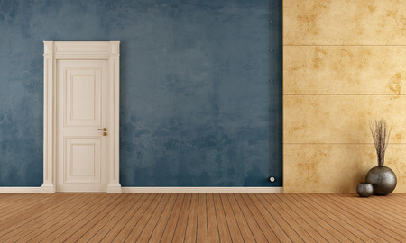 Blue empty vintage room with old door and concrete panel - rendering photo