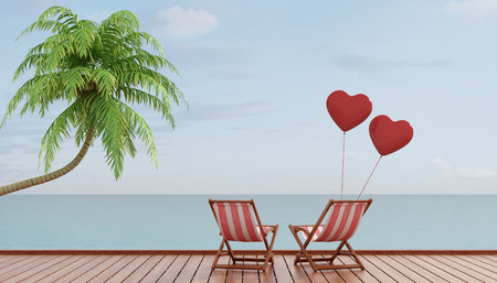 Two deck chairs with two heart balloons on a wooden pier at sunset - rendering photo