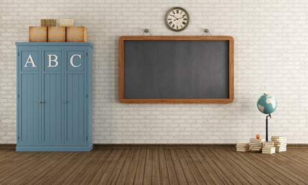 cabinets: Vintage classroom with blackboard and wooden cabinets - rendering
