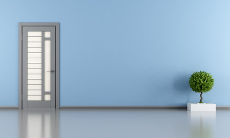 Blue room with gray door and plant - rendering
