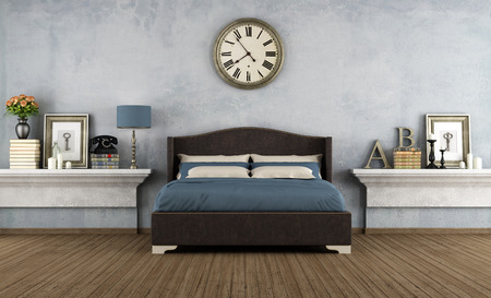 ビンテージ ベッドルーム ダブルベッドとレトロなオブジェクト - レンダリング 写真素材