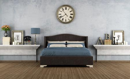 Vintage ložnice s manželskou postelí a retro předměty - vykreslování