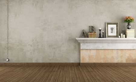 wall decor: Empty vintage room with shelf in masonry - rendering