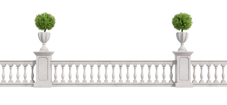 banister: Classic balustrade with pedestal and vase with plants isolated on white - rendering Stock Photo