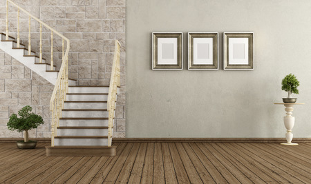 Retro room with wooden staircase - rendering photo