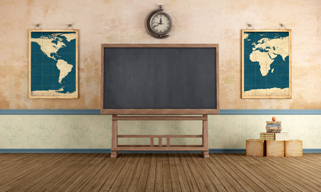 Old classroom with blackboard and vintage objects - rendering