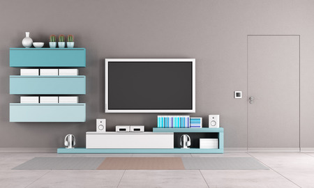 Colorful living room with tv stand,cabinet and close door photo