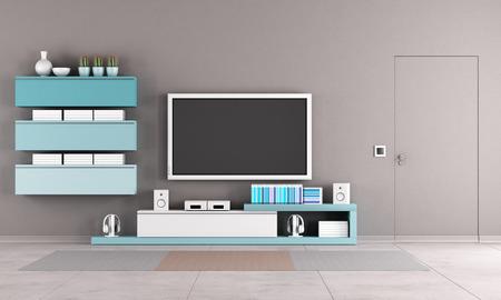 cerrar la puerta: Sala de estar colorida con TV stand, armario y cierre la puerta Foto de archivo