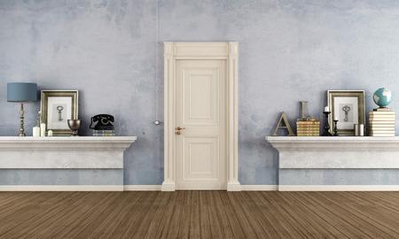Retro home Eingang mit Mauerwerk Regal und Vintage-Objekte - Rendering