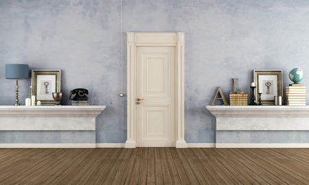Retro home entrance with masonry shelf and vintage objects - rendering