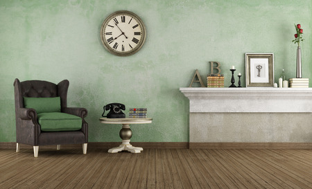 vintage objects: Old room wiht leather armchair and vintage objects - rendering