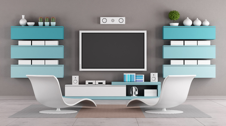 Modern living room with tv wall unit - rendering photo