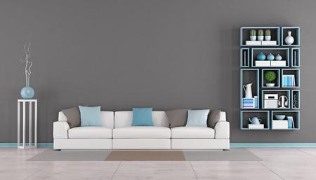 Moderne Wohnzimmer mit weißen Sofa, bunte Kissen und Wandregal - Rendering