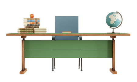 Retro teacher s desk with books,apple and globe isolated on white-rendering photo