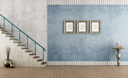 Retro empty room with blue wall and staircase - rendering