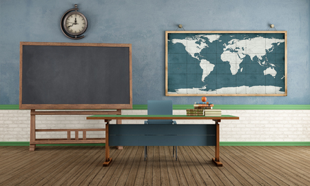 classic furniture: Vintage classroom with blackboard teacher s desk and world map on wall - rendering