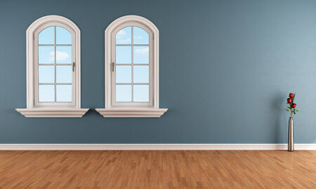 rose window: Two arched windows in a empty blue room - rendering