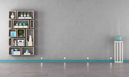 concrete room: Gray interior with modern bookshelf on wall - rendering