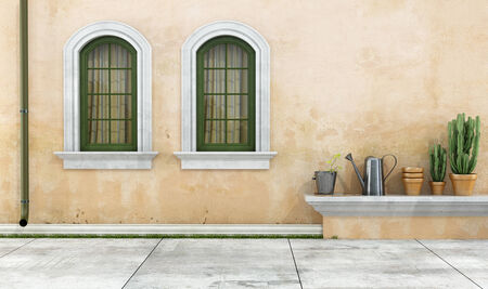 Old facade with two green arched windows - rendering Stock Photo