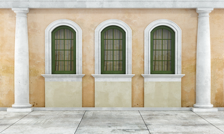 Courtyard of an old house with two arched windows and columns - rendering