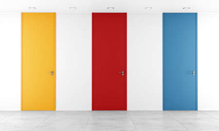 full height: White room with colorful full height doors- rendering Stock Photo