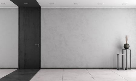 Minimalistische Wohnzimmer mit Holz voller Höhe Tür - Rendering