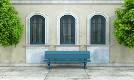 Courtyard of an old house with arched windows and bench - rendering