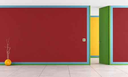 Colorful room with open door - rendering photo