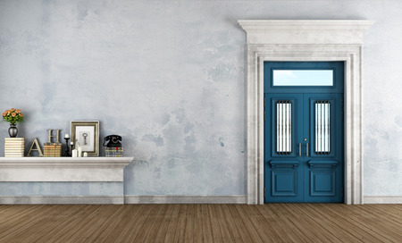 Home entrance in classic style with blue front door and stone portal - rendering photo