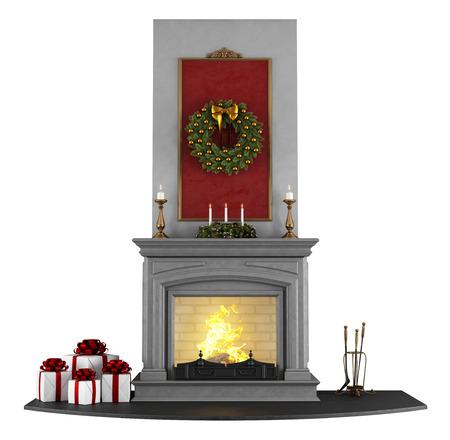 camino natale: Camino classico con decorazioni di Natale isolato su bianco - rendering