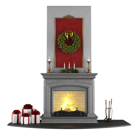 stone fireplace: Traditional fireplace with Christmas decorations isolated on white - rendering