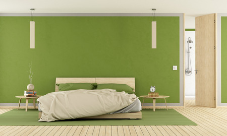 green room: Green modern bedroom with shower - rendering Stock Photo