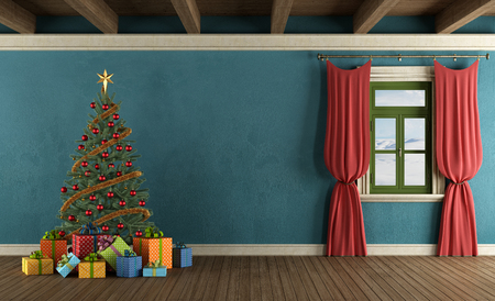Mountain house with Christmas tree, gifts and window with red curtains - rendering photo