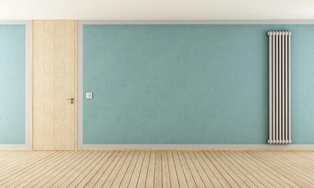 full height: Blue empty room with door full height and vertical radiator - rendering