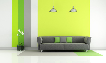 couches: Modern living room with gray couch and colorful wallpaper - rendering