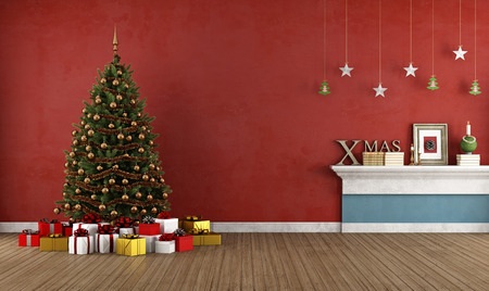 retro christmas: Red room with christmas tree and decoration -rendering