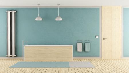 Minimalist blue bathroom with wooden bathtub, radiator and closed door - rendering