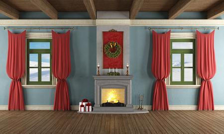 Роскошные гостиная с камином и декором Рождество - оказание