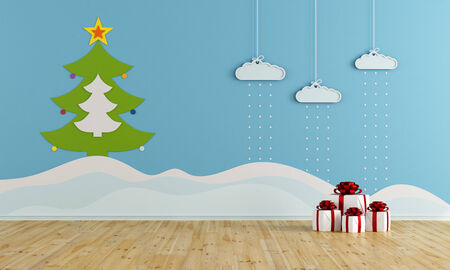 kids room: Playroom with christmas decoration - rendering Stock Photo