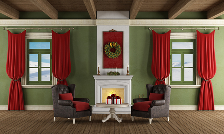Luxury living room with fireplace, two leather armchair and christmas decoration - rendering