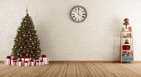 natale: Empty room vintage con piccoli scaffali e albero di Natale - rendering