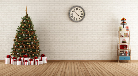 Empty vintage room with little bookshelves and christmas tree - rendering  Stock Photo